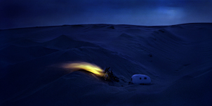 Thomas Wrede, Wohnwagen am Feuer (from the series 'Real Landscapes'), 2005, © Thomas Wrede, VG Bild-Kunst, Bonn